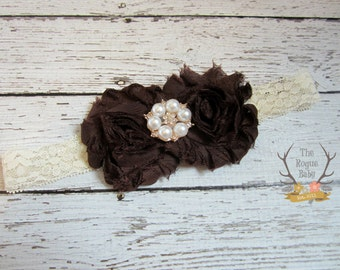 Brown Cream  & Rose Gold Lace Headband with Pearl Rhinestone -  Baby Newborn Infant Photo Prop Toddlers Girls Women Fall Autumn