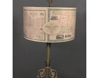 Drum Lamp Shade- Historic Map of Monroe County, NY