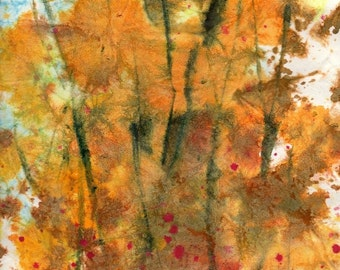 Batik Style No.24/New England Fall-Scape, original watercolor