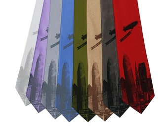 The World Is Yours Cleveland Neckties, on White, Lavender, Silver, Periwinkle, Olive Green, Bronze, Graphite, or Red