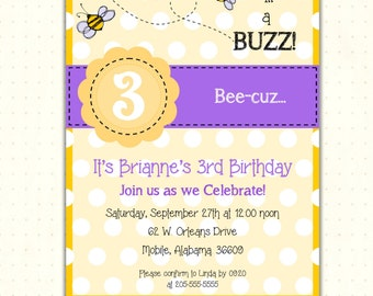 Children's Birthday Party Invitation, girl, boy, 2nd, 3rd, 4th, 5th, bees, purple, digital, printable, invite G1409