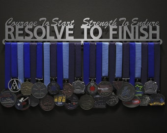 Courage To Start, Strength To Endure, Resolve To Finish - Allied Medal Hanger Holder Display Rack