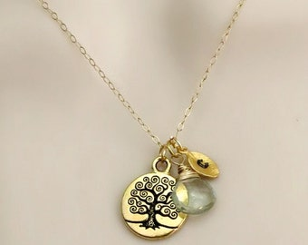 Tree of Life Necklace, Personalized Necklace, Birthstone Necklace, Gold Initial Necklace, Mothers Necklace, Gift for Friend, Sister Necklace