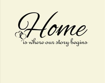 Home is where our story begins vinyl wall decal, home decor, home decal, our story wall decal