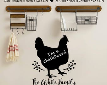 Chicken Chalkboard Wall Decal with Optional Personalization