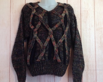 Vintage 80s Cee Black Layered Oversized Winter Sweater Ladies Medium M
