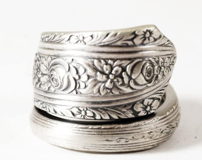 """Victorian Floral Rose Ring, Sterling Silver Spoon Ring, R Wallace & Sons Pattern """"Normandie"""" of 1933, Handmade, Adjustable Ring Size (6305)"""