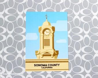 Postcard Clock Tower Sonoma County Santa Rosa California Courthouse Square