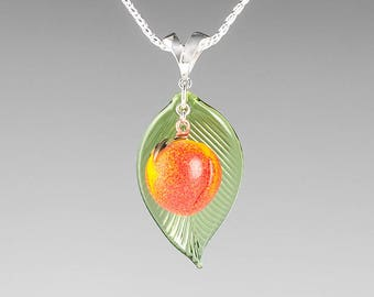 Glass Peach Necklace / pendant lampwork bead fruit jewelry hand blown glass art birthday gift, Mother's Day gift for gardener, cook, chef