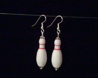 White and Red Bowling Pin Earrings w/fishhook style hooks