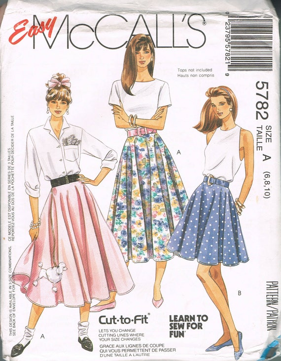 Size 6-10 Misses Easy Circle Skirt Sewing Pattern - Poodle Skirt ...