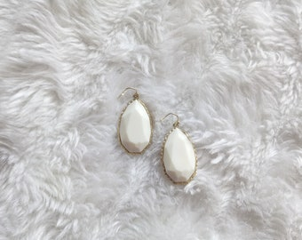 Faux white stone and gold minimal modern hook drop earrings