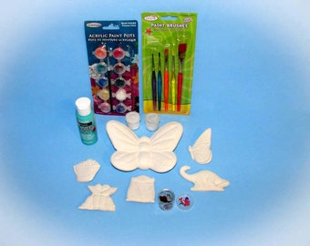 Child's Creative Ceramic Kit - Ceramic paint it yourself kit, hand made