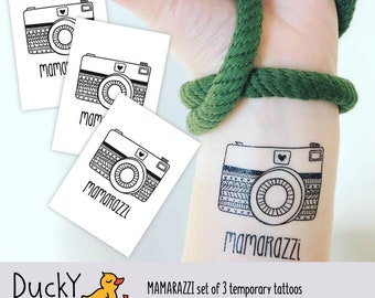 Set of 3 Mamarazzi temporary tattoos. Black ink kids tattoos for moms with camera. Mother's day gift. Gift for mamas behind the camera.