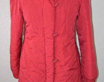 Red 'J.Gallery' Puffy Knee Length Coat - Women's S to M