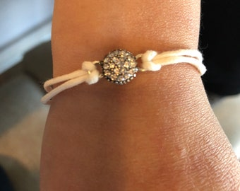 White Cord Adjustable Bracelet