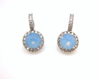 bridal earrings wedding jewelry prom AAA cubic zirconia swarovski round air blue opal rhinestone white gold click style lever back hoop