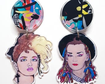 Material Girl / Boy George Large Dangle Earrings