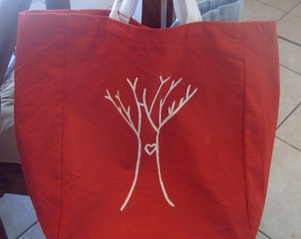 reusable shopping tote, Canvas shopping bag, canvas grocery bag, I Heart Trees - Comes in different colors