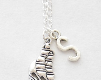 Sailing Necklace Sailboat Jewelry Clipper Ship Necklace Ship Charm Necklace Pirate Sailboat Necklace Silver Boat Nautical Necklace Initial