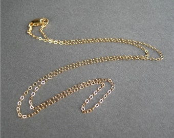 18 Inch Gold Filled Chain, Fine Gauge GF Delicate Chain Necklace, Lobster Claw Clasp