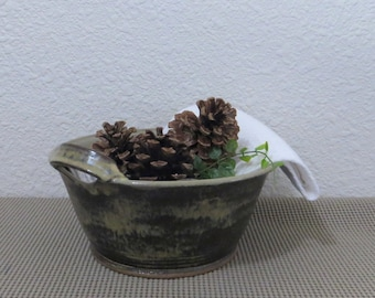 Serving Bowl - Handmade Stoneware Pottery Ceramic - Burnt Iron Brown and Birch Brown - 1-3/4 Quart
