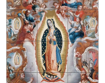 Religious wall art - The Virgin of Guadalupe - tile mural - Spanish Colonial art - catholic art - Our Lady of Guadalupe - Guadalupe art