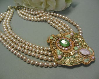 Necklace-brooch, single piece, beaded embroidery, Swarovski elements and more