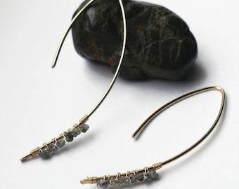 Raw Diamond Earrings, Gold & Sterling Silver Diamond Earrings, Rough Diamond Earrings, Threader Earrings, Minimalist Earrings, Gift for Wife