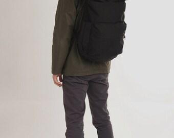 Laptop mens Backpack,Large black Backpack,Travel Large Backpack,Men Rucksack gift,Canvas Waterproof backpack,Rolltop Backpack,Rucksack