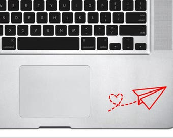 Paper Airplane Vinyl Decal  with Heart