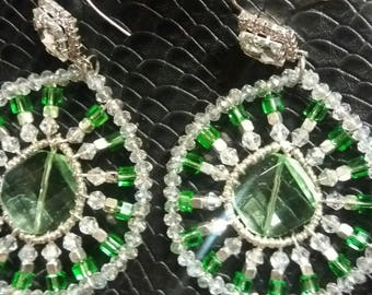 Handmade earrings made with crystals