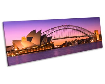 Sydney Harbour Skyline City CANVAS WALL ART Panoramic Framed Print