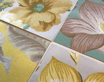 Pack of (4) -  Tan/Yellow/Green Floral Vintage Wallpaper Pack, 11x14 size