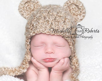 Newborn Baby Bear Hat, Ready to Ship, Bear Hat for Baby Boy, Baby Girl Hat, Crochet Baby Bear Hat, Teddy Bear Photo Prop, Bear Ear Flap Hat