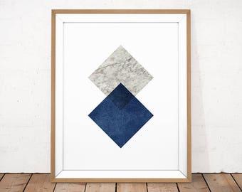 Blue Scandinavian Poster, Navy Geometric Art, Marble Printable, Navy Print, Abstract Printable, Marble Blue Print, Modern Minimalist Art