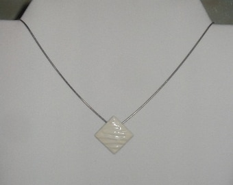 SALE-Delicate white wave-form diamond pendant necklace-made from vintage earring