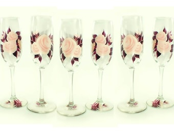 10 Hand Painted Bridesmaid Glasses 10x - Blush Pink Roses, Dark Plum Leaves - Personalized Bachelorette Wedding Shower Favor