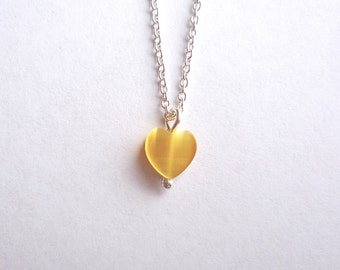 Tiny yellow glass heart necklace with 16 or 18 inch sterling silver chain, Dainty yellow heart pendant