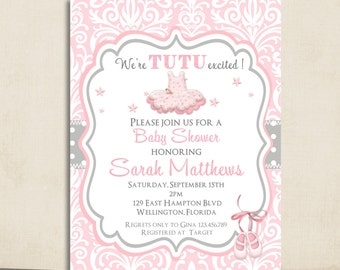 Pink Tutu Baby Shower Invitation - Ballerina Tutu Cute Pink Damask and Gray Dots Printable Invite