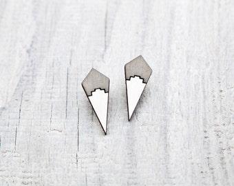 Gray Stud Earrings, Geometric Tribal Post Earrings, Gray White Ear Studs, Native Earrings, Gifts for Women, Valentines Day Gift for Her