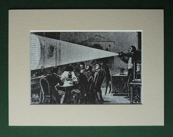 Vintage Print Of A Victorian Magic Lantern Projector - Victorian Art Engraving - Silent Cinema Gift - Victorian Print - Silent Film Art Gift
