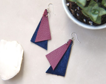 Leather Triangles Statement Earrings - Magenta & Blue