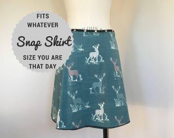 Clothing, skirt, Snap Around Skirt, Deer skirt, Women Skirt, Plus size, adjustable skirt, blue skirt, cute skirt, Erin MacLeod