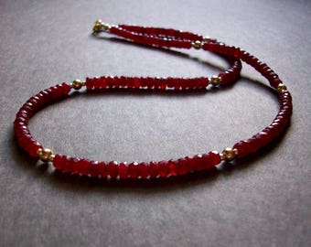 Ruby Necklace Real Ruby Necklace Gold Silver Ruby Necklace Sterling Precious Necklace Red Ruby Necklace Unique Gift Gemstone Necklace
