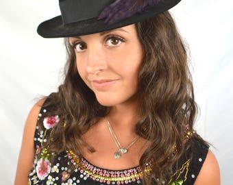 Great Vintage Biltmore Royal Black Derby Feather Fedora Hat