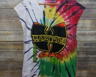 Vintage Inspired Custom Bleached & Distressed Wutang Clan Cut-off L