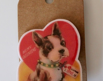 Frenchie valentine brooch