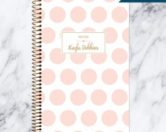 NOTEBOOK personalized journal | lined notebook | personalized gift | stocking stuffer | spiral notebook | pink gold polka dots