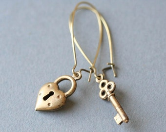 Key Heart Earrings, Key To My Heart Earrings - Steampunk Jewelry - Valentine Earrings